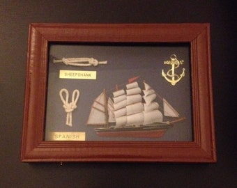 Antique Framed Shipping Knots and Figures, 1960's made