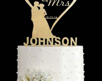 Wedding Cake Topper Wooden Heart Gold