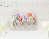 Coral lavender mint turquoise silver hair comb. Coral lavender hair clip. Flower bridal hair clip