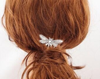 Silver dragonfly hair comb elegant dainty