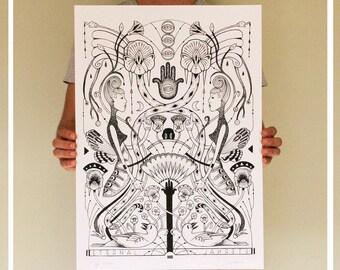 "Art Print . ""The Eternal"" . Art Deco, snakes, moths, birds. limited edition"