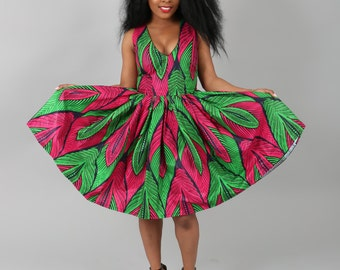 African clothing : NEW JESSICA dress handmade from authentic super wax print.summer dress,green/pink dress