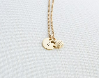 Initial Necklace & Fish Charm, Initial Jewelry, Gold Plated Disc Necklace, Tropical Fish Necklace, A great gift idea