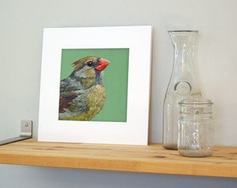 12x12 Cardinal Wall Art with White Mat - Ready to Frame Bird Print from Original Acrylic Painting