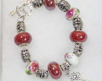 Maroon and White Charm Bracelet