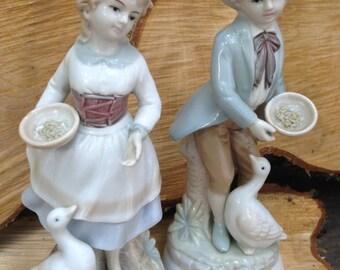 Lenwile Ardalt Japan Hand Painted China Girl and Boy Feeding Geese Figurine Set 7357