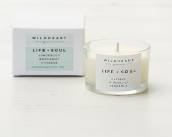 Soy Candle  -  Gingerlily, Cypress & Bergamot, Therapy Travel Aromatherapy Candle,