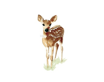 Watercolor Deer Print / Watercolor Fawn Print / Deer Watercolor Art Print Baby Fawn / Woodland Art
