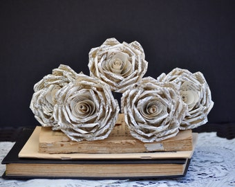 Vintage Book Page Roses ~ One Dozen Paper Flowers