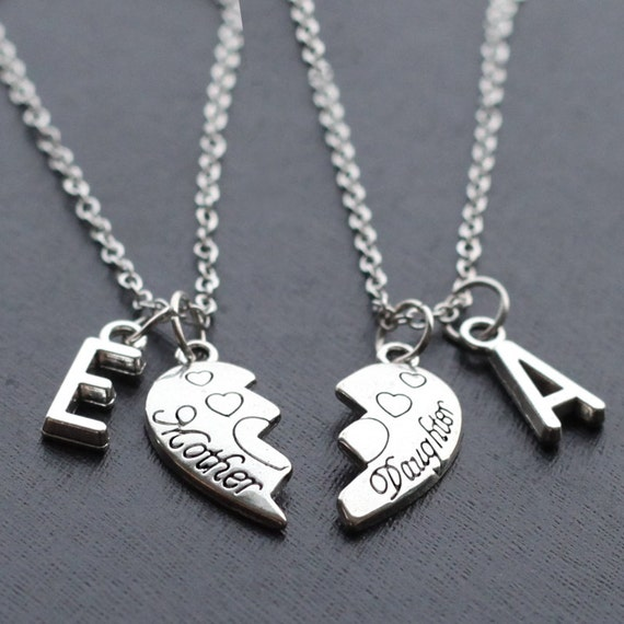 mother daughter necklaces christmas gift initials heart
