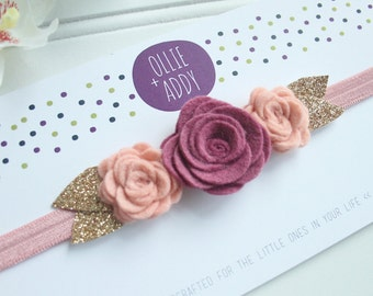 Felt Flower Headband- Felt Flower Crown- newborn to toddler- flower headband- baby headband