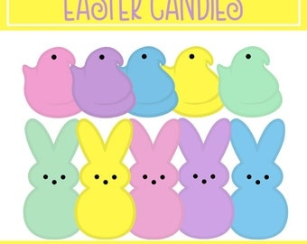 EASTER CLIPART - Peep Candy Clipart - Digital Download - Extended Commercial Use - Transparent Clipart - bunny and chick clipart