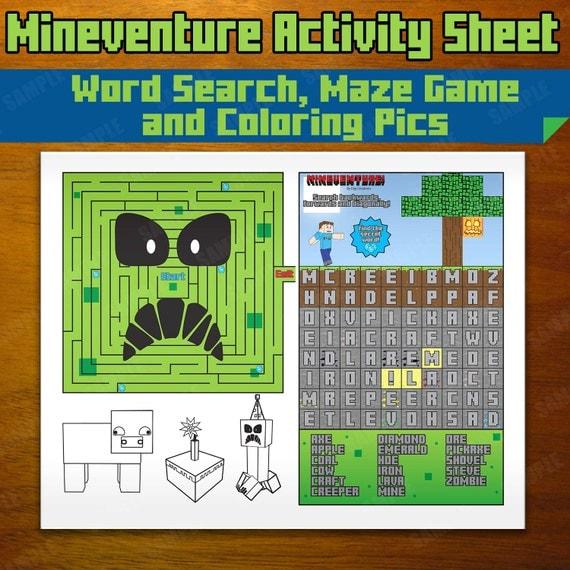 Mineventure Activity Sheet Instant Download Maze Word
