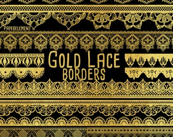 Gold Lace Borders: Gold Border Clipart Gold Lace Trim, Golden Border Clipart, Gold Border Clip Art Pack Digital Gold Border Instant Download
