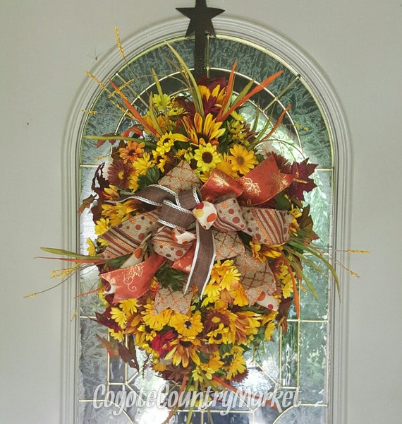 Fall Door Swags: Items Similar To Sunflower Daisy Fall Door Swag, Fall