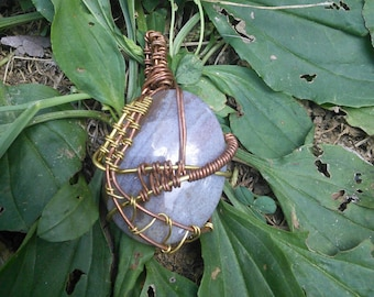 Rustic Crystal Pendant Wire Wrapped in Copper and Brass