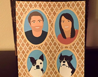 NO FRAME | Illustrated Family Portrait 3-4 People/Pets