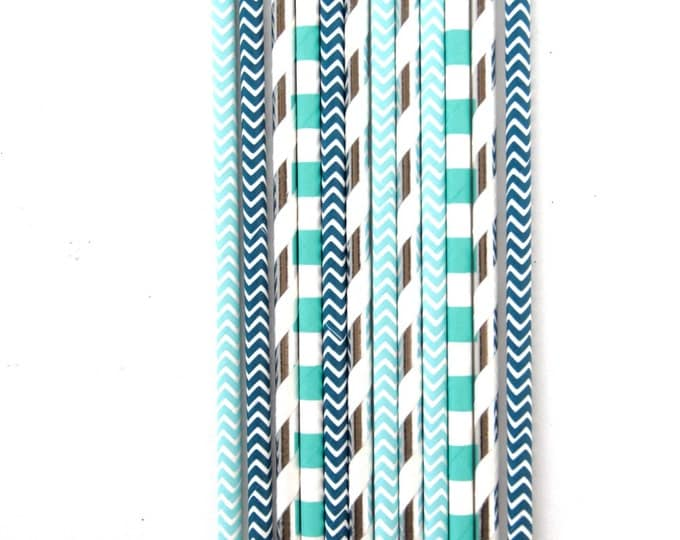 Coastal Cruiser Straw With Gold Flag, Paper Straw, Blue Straw, Gold Straw Flag, Baby Shower or Wedding Straw, Straw