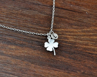 Clover Necklace, Sterling Silver Four Leaf Clover Charm Necklace, Shamrock Necklace, Good Luck Necklace, Initial Necklace, Wedding gift