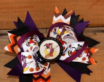 Mickey Halloween hair bow, fall hair bow, Holiday hair bow, pumpkin hair bow, hair bow, Orange hair bow fall hair bow