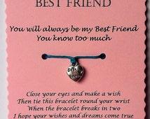 Friendship bracelet, Best Friend Gift, Best Friend Bracelet, Wish Bracelet, Cord Wish bracelet, String Wish bracelet, Friendship gift,  gift