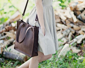 Brown leather cross body tote bag/ spring bag/ handmade leather tote  bag/ crossbody tote/ genuine leather tote / full grain leather tote