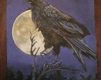 Raven sings the moon up print