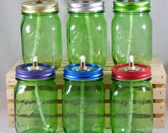 Mason Jar Tiki Torch - Logo Pint Green