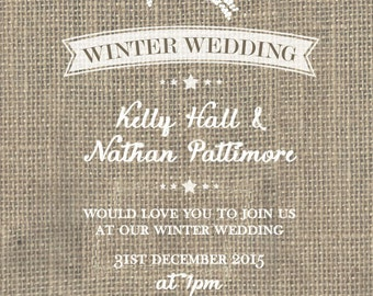 SAMPLE Christmas Hessian Burlap Rustic Vintage White Wedding Invitations!