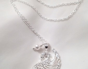 Swan Necklace - Silver Swan Necklace with Pearl Accent - Crystal Swan Necklace -