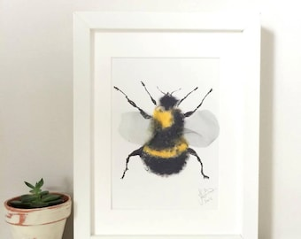 A5 Bumble Bee Art Print - Hand Finished