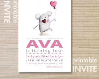 kids invitation - girls invitation - printable invitation - koala bear