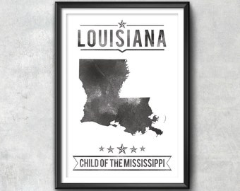 LOUISIANA State Typography Print, Typography Poster, Louisiana Poster, Louisiana Art, Louisiana Gift, Louisiana Decor, Louisiana Print, Love