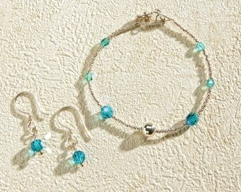 SALE, GIFT, Set of Turquoise Swaroski with Silver Chaquira of 950