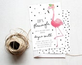 Flamingo Party Invitation Baby Shower, Tropical Flower,  Printable Invite (711)