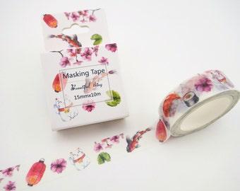 Japanese washi tape - maneki neko - lucky cat washi tape - sushi washi tape - koi washi tape - sakura cherry blossoms - lantern masking tape