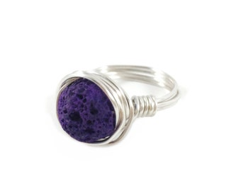 Lava Diffuser Ring, Essential Oil Diffuser Wire Wrapped Ring, Stone ring, Gemstone ring, Purple, Boho Ring, Bridesmaid Gift, Gold or Silver