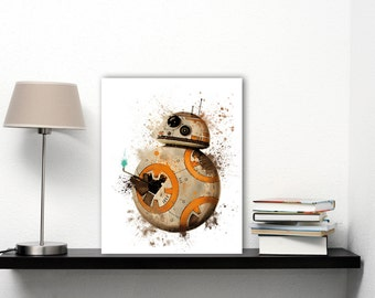 BB8 Art Watercolor Star Wars BB8 Baby Art Prints, Star Wars Droid Robot Art, Cute Prints Thumbs Up Art, Star Wars Episode 7, Star Wars BB 8