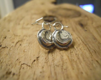 Hammered Moon Disc Earrings ~ Sterling Silver ~ Artisan Handmade ~ Free Postage within UK ~