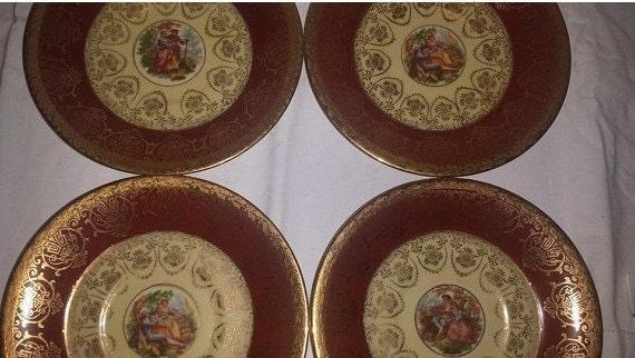 Decorative Wall Plates Set Of 4 : Vintage victorian decorative plates hand by junkyardblonde