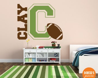 Varsity Monogram with Customized Name and Football / and other Sports Designs for your Kid's Bedroom