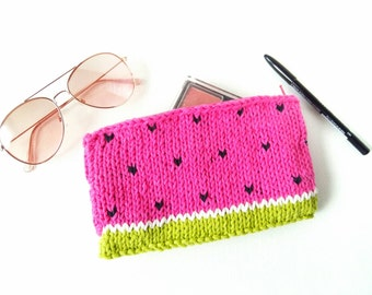 Watermelon Bag – Zipper Pouch – Gift for Her - Knit Bag - Small Makeup Bag - Makeup Pouch - Watermelon Purse - Accessory Bag – Make Up Bag