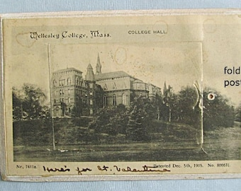 Wellesley College, Massachusetts, Souvenir Fold Out Postcard, 12 Views, 1905