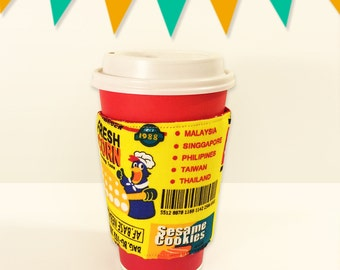 Fabric Coffee Cozy / Tea Cozy - Popcorn Street(Yellow)