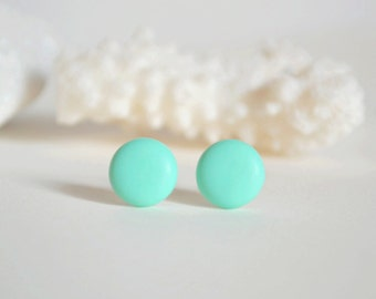 Minimal earrings Round Mint earrings for girlfriend mint stud earrings for her mint round Stud mint post mint jewelry polymer clay studs