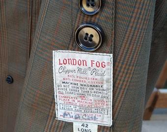 Men's Vintage London Fog Overcoat 1960s Clipper Mill Plaid Coat Size 42L 42Long Large