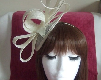 40% OFF Cream sinamay pointed cap fascinator with ostrich quills on a satin aliceband. Wedding Hat, Races Hat, Cream Hat