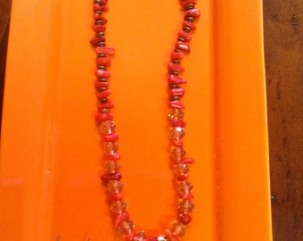 Women's Fashion Jewelry Necklace and Earrings Set - Red Turquoise & Crystal with Pendant