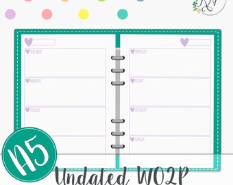 Week on 2 Pages A5 Undated planner inserts Filofax Planner Printable Instant Download