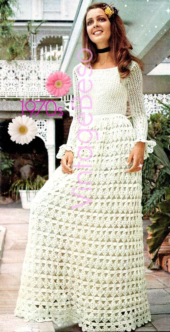 Maxi Dress CROCHET Pattern Vintage 1970s Maxi Dress KNITTING Pattern FREE Pat...